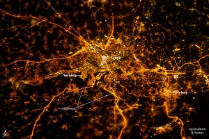 Liège at Night, thanks to NASA for image